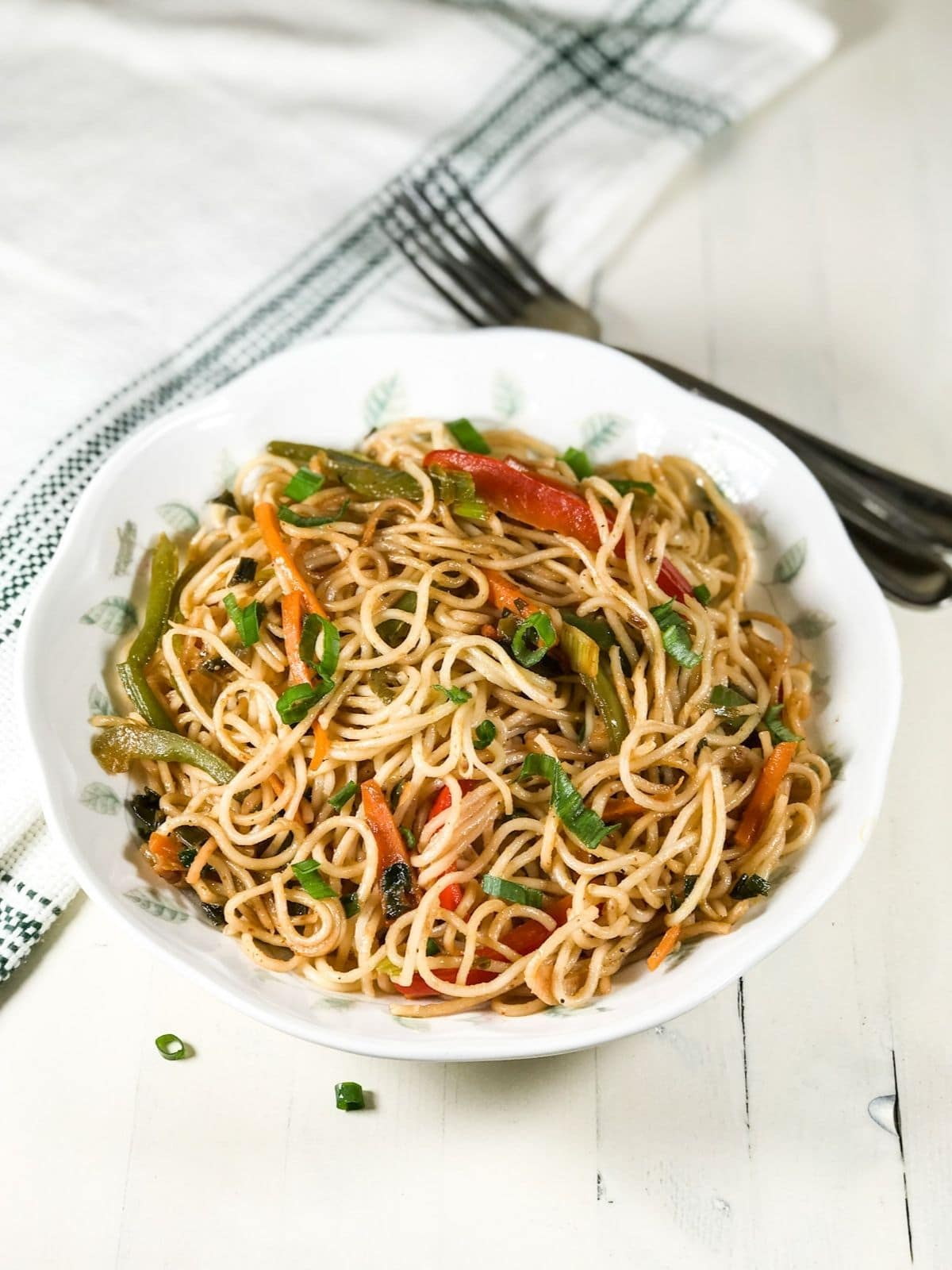 A white plate is filled with noodles and topped with spring onions
