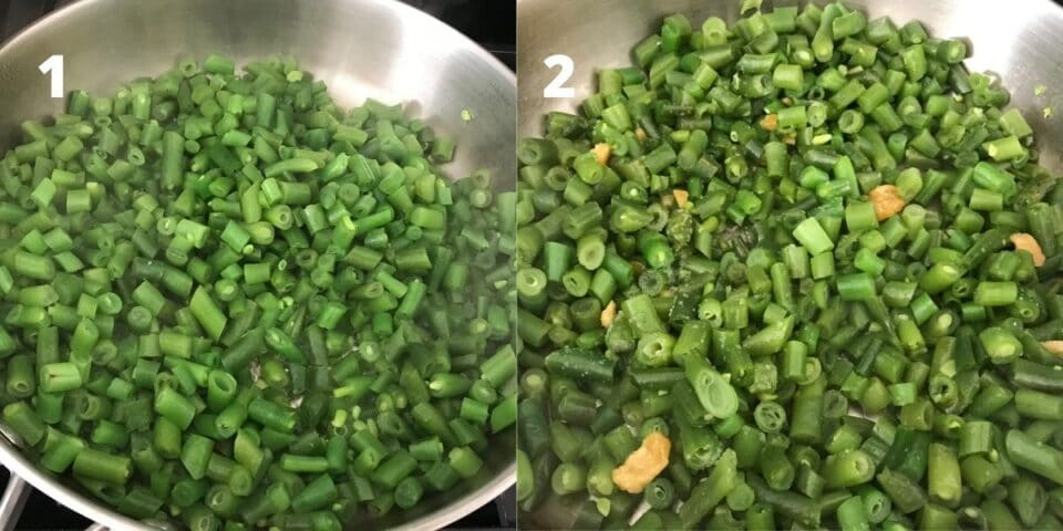 A pan is filled with green beans and salt
