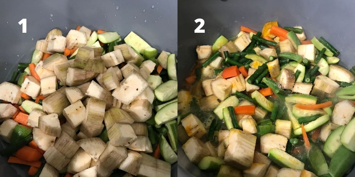 A non stick pot is filled with mixed vegetables and water over the stove top