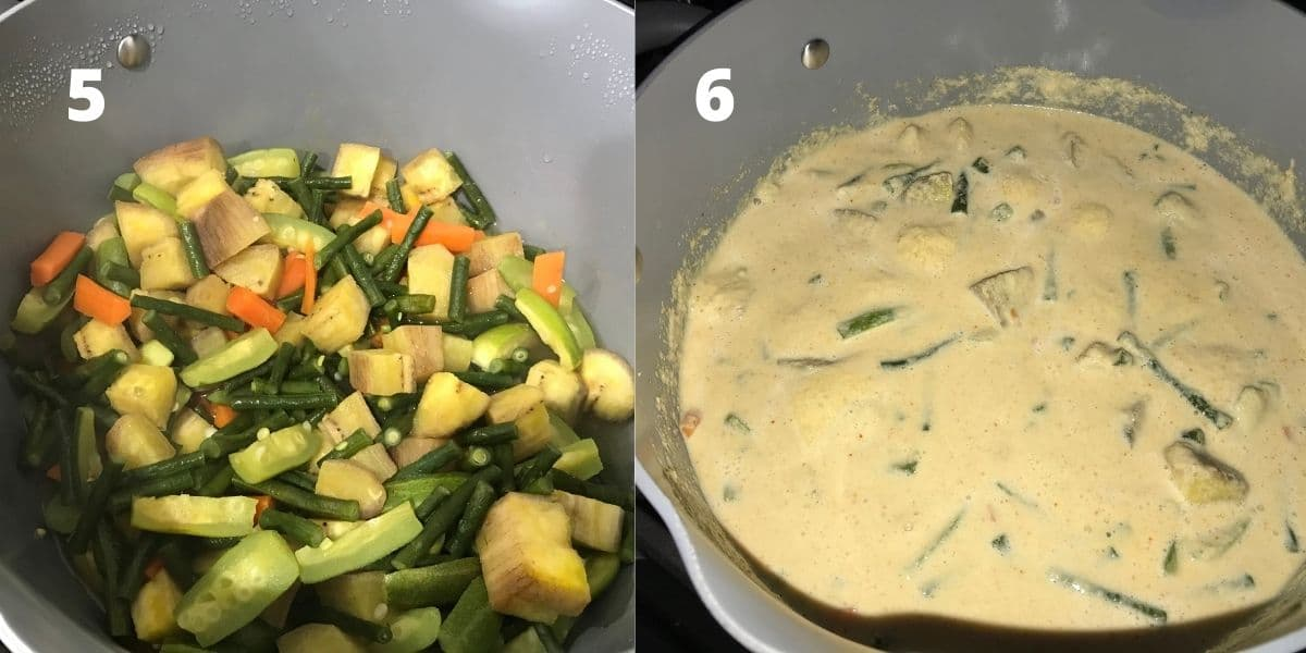 A pot with mixed cooked veggies and  blended coconut masala over the heat