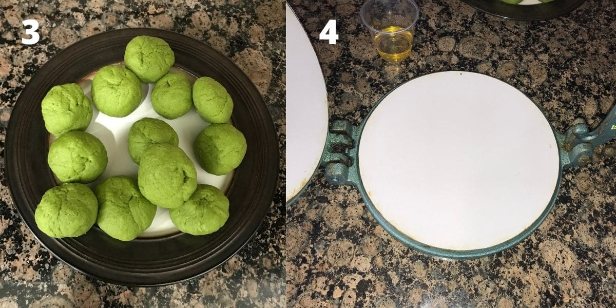 Palak puri dough balls are on the plate with puri press