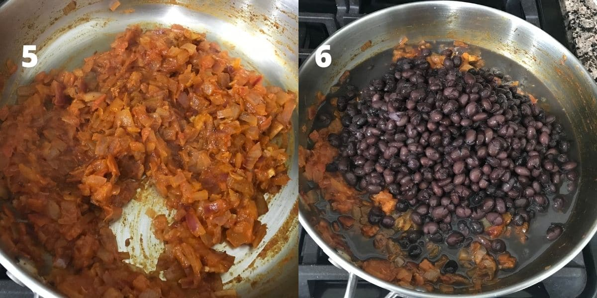 Pan is filled with spices and cooked black bean over the heat.
