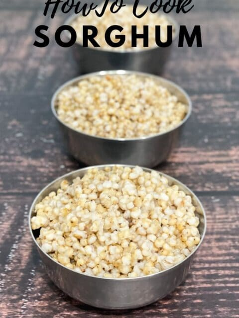 Bowls are filled with cooked jowar or sorghum