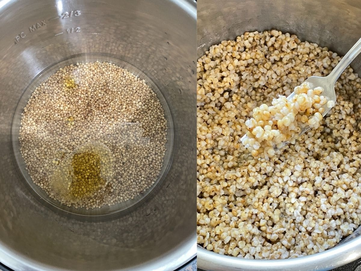 An instant pot filled with sorghum
