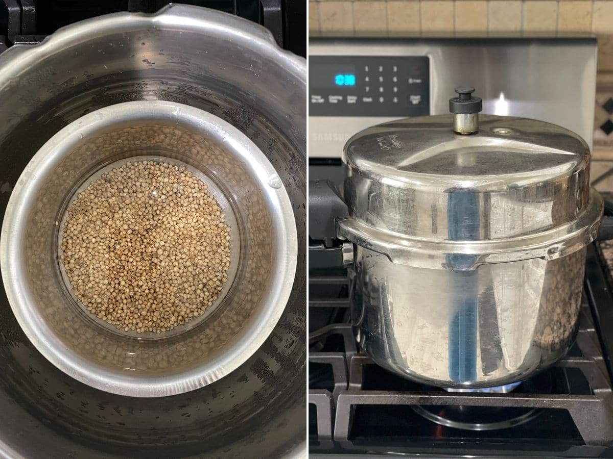 A pressure cooker is with sorghum millet over the heat