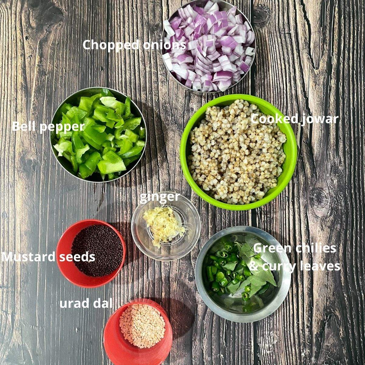 Jowar upma ingredients are on the table