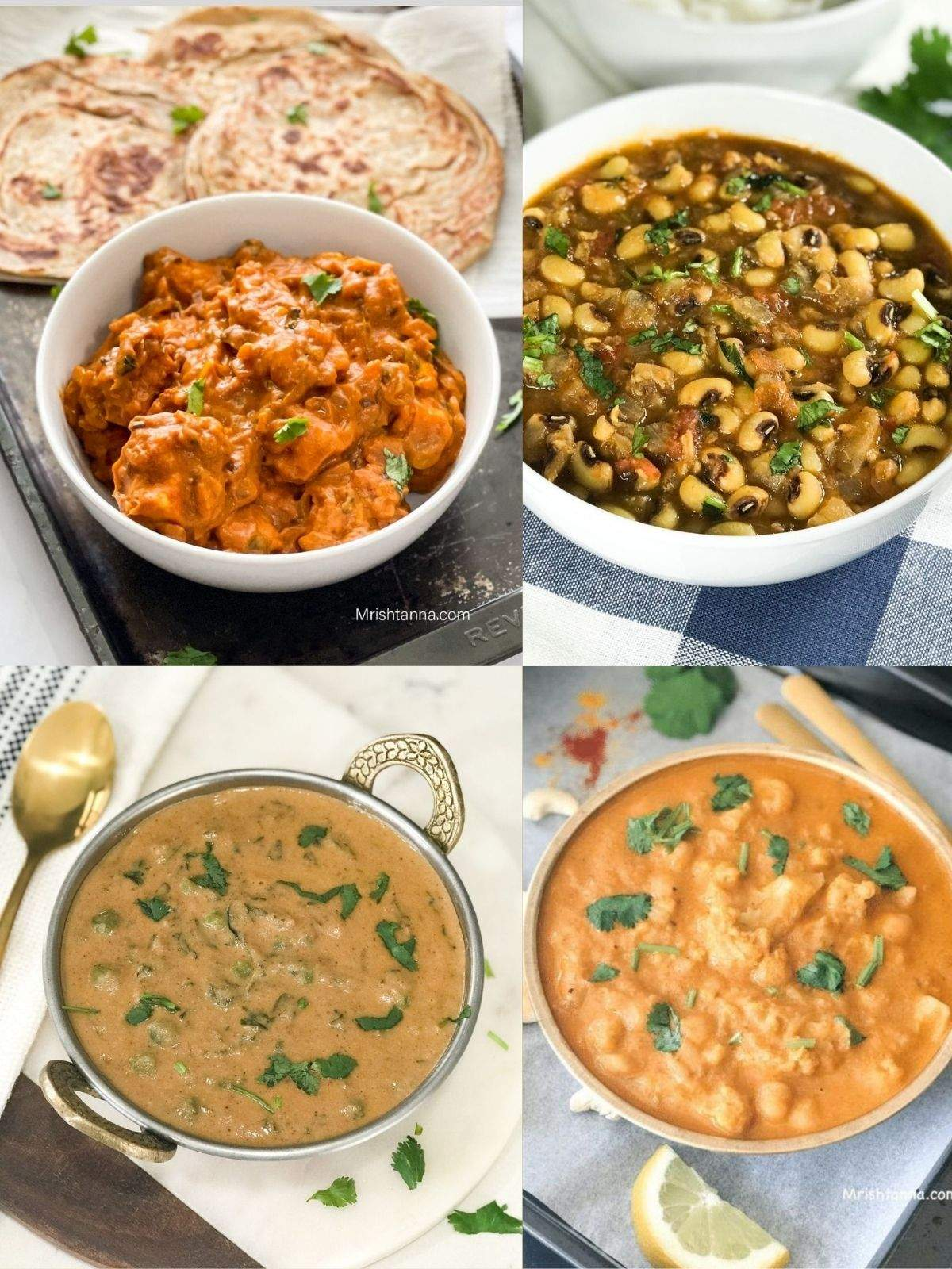 Four bowls are filled with curries for chapati